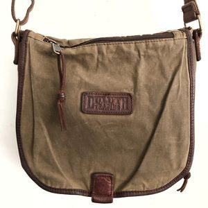 Duluth Trading Company Brown Oil Cloth Sling Bag